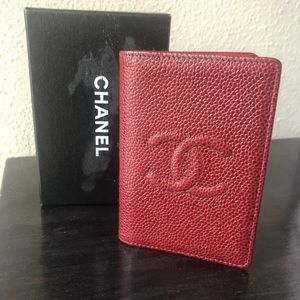 Chanel Dark Red Caviar Timeless Card Case